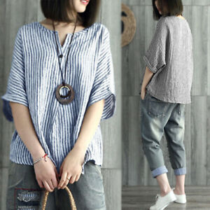 UK-8-24-Womens-Autumn-Striped-Batwing-Sleeve-Casual-Loose-Tops-Shirt-Blouse-Plus