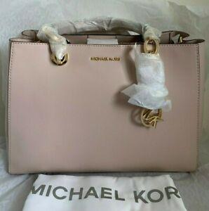 NWT-MICHAEL-KORS-Cynthia-Medium-Dressy-Leather-Satchel-348-Soft-Pink-Original-P