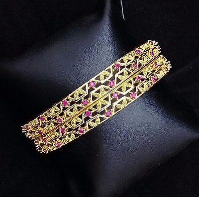 Indian Bollywood Ethnic 18K  Ruby CZ Designer Fashion Women Bangle Bracelet