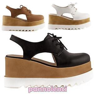 Caricamento dell immagine in corso contScarpe-donna-francesine-mocassini- stringati-zeppa-carrarmato-nuove- e728a3f2107