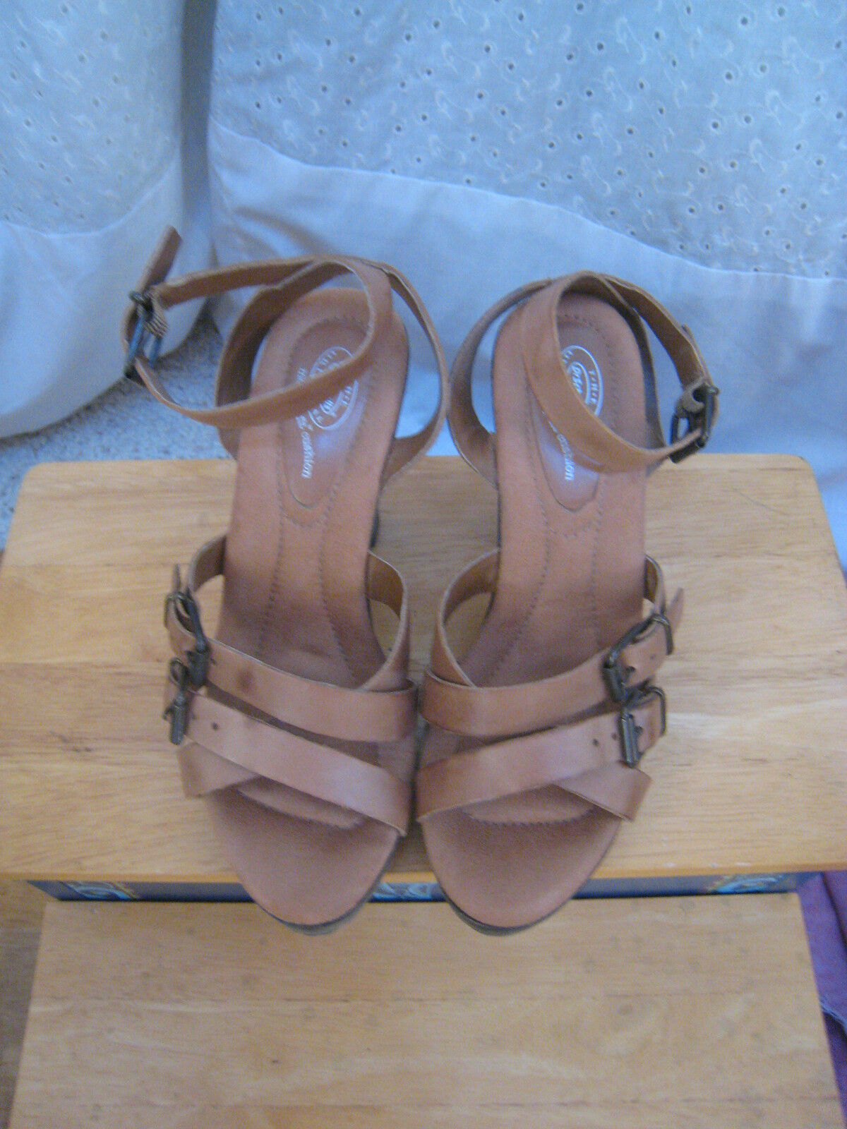 New  Dr. Scholls Tan Leder Strappy Wood 4 inch Heels Buckle Schuhes memory fit 6