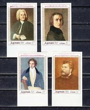 Ajman, Mi cat. 425-428 B. Classical Composers, IMPERF issue.