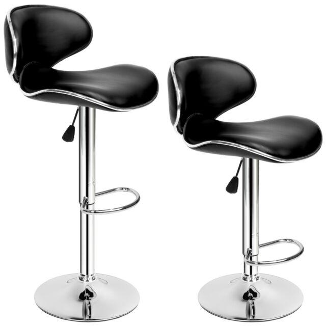 2x Tabourets de bar chaise fauteuil bistrot pivotant cuisine siège design noir