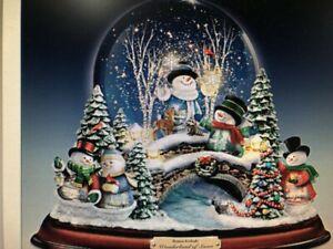 Thomas-Kinkade-Snowman-Snowglobe-With-Lights-And-Music-New