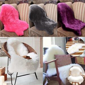 Sheepskin Rug Faux Fur Chair Cover Rug Carpet Seat Plain Skin Fur
