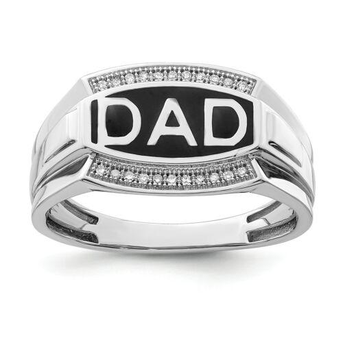 SS Rhodium Plated Diamond Men/'s DAD Ring//CT Wt 0.08ct//Met Wt-5.09g