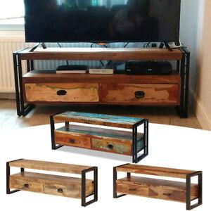 Details zu TV Schrank Holz Fernsehtisch Fernsehschrank HiFi Lowboard TV Board Sideboard