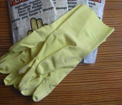 2 Paar Latex Haushalts-Handschuhe Gr.8 gelb gutes Tastempfinden Griffsicherheit