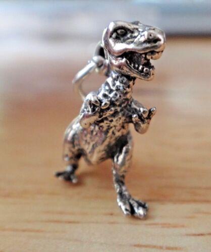 Sterling Silver 3D 26x24x10mm Solid Tyrannosaurus Rex Dinosaur Charm