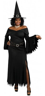 Classy Witch Wicked Evil Black Fancy Dress Up Halloween Plus Size Adult Costume