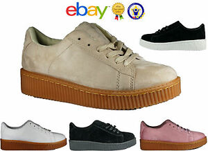 lowest price 5c37b da27e Details about WOMENS LADIES CHUNKY SUEDE PLATFORM TRAINERS RUNNING CREEPERS  SPORTS SHOES SIZES