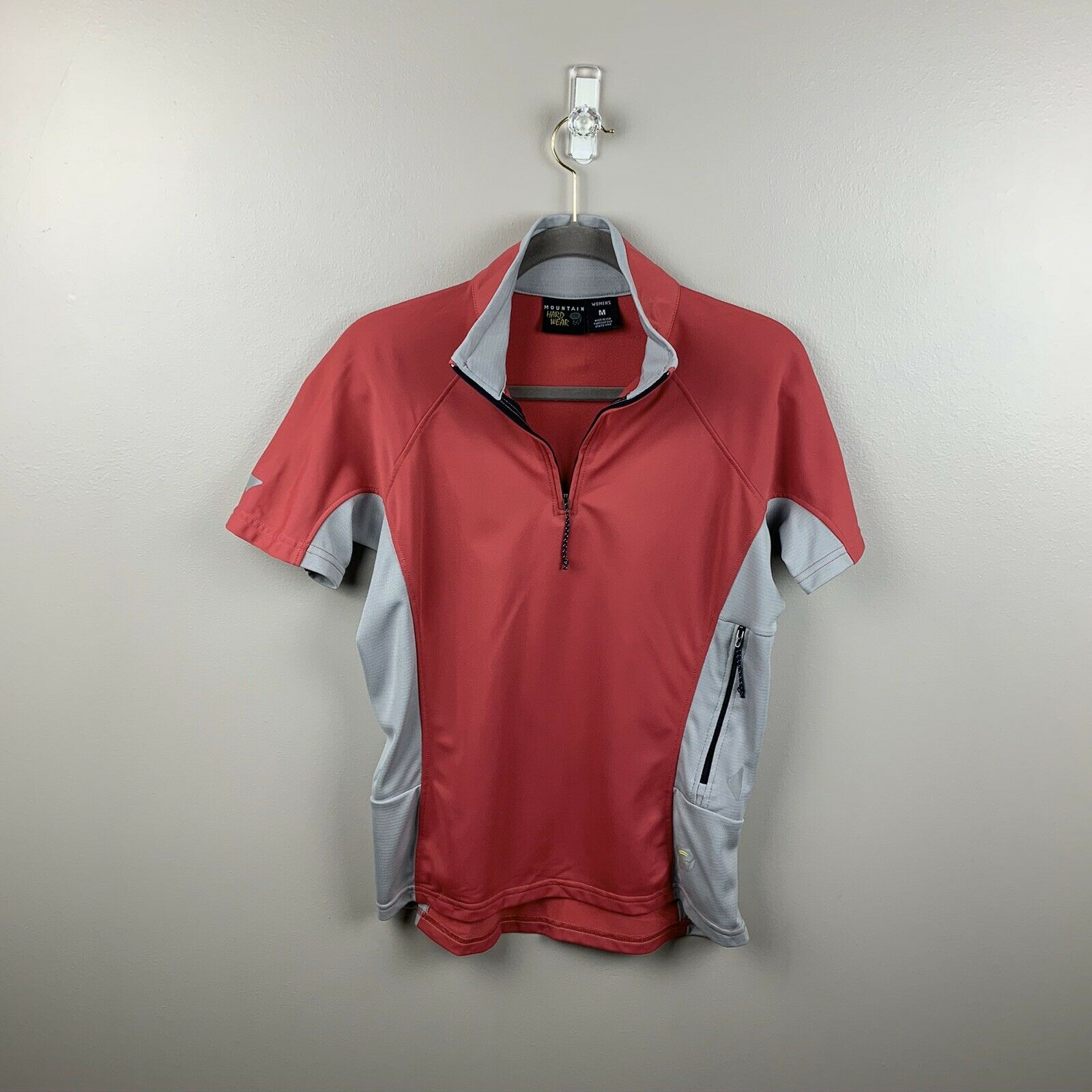 Mountain Hardwear Women's Short Sleeve Half Zip Cycling Top Red Gray