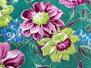 SALE-Lollipop-LIME-Cottage-Floral-Barkcloth-Vintage-Fabric-Drape-Curtain-50-039-s