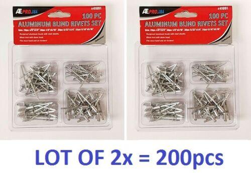 LOT OF 100pc or 200pc Aluminum Rivet Set Blind Riveter w// Dome Hand Air Steel