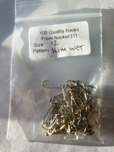 100 Fly Tying Hooks Size 12 slim wet FREE POSTAGE