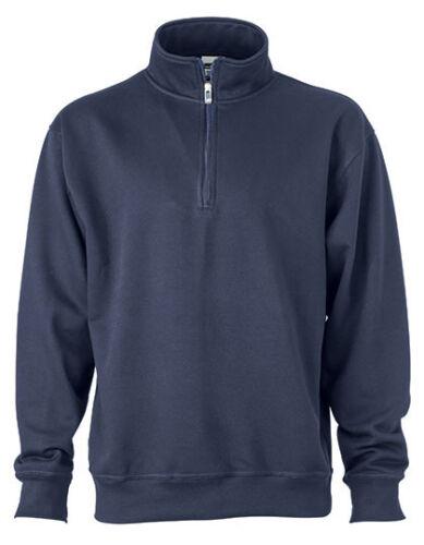 JN831 Jamesnicholson Men/'s Sweatshirt Pullover Zip Stand up Collar XS 6XL
