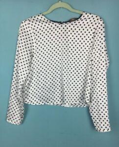 b3b135479518c Image is loading Zara-White-Black-Smudge-Polka-Dot-Satin-Top-