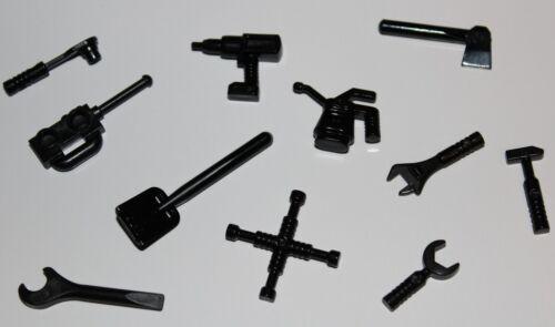 Lego Black Minifig Tool Utensil Shovel Drill Axe Socket Wrench Mallet Oil Can