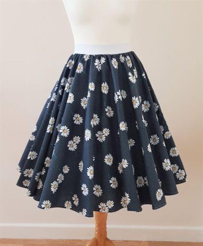 Navy Blue Rockabilly Pin Up Dress 1950s Circle Skirt Daisy Polka Dot Size 8