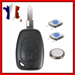 Coque PLIP Clé Compatible Trafic Kangoo Opel Master Vivaro 2 Switch+Pile