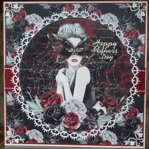 Handmade gothic Venetian mother/'s day card with a vampire madam butterfly design