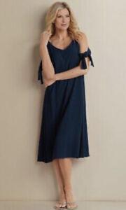 Soft Surroundings Style 2AF78 Navy Blue Cold Shoulder Rayon Destin Dress Size L