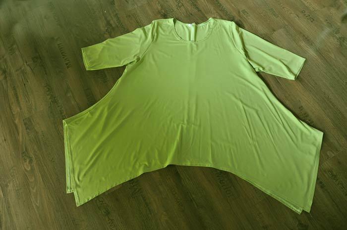 Lagenlook DESIGN UNA LUNGA TUNICA FINE LINEA kiwi-verde tg. 2 2 2 46,48, XL, XXL 38799f