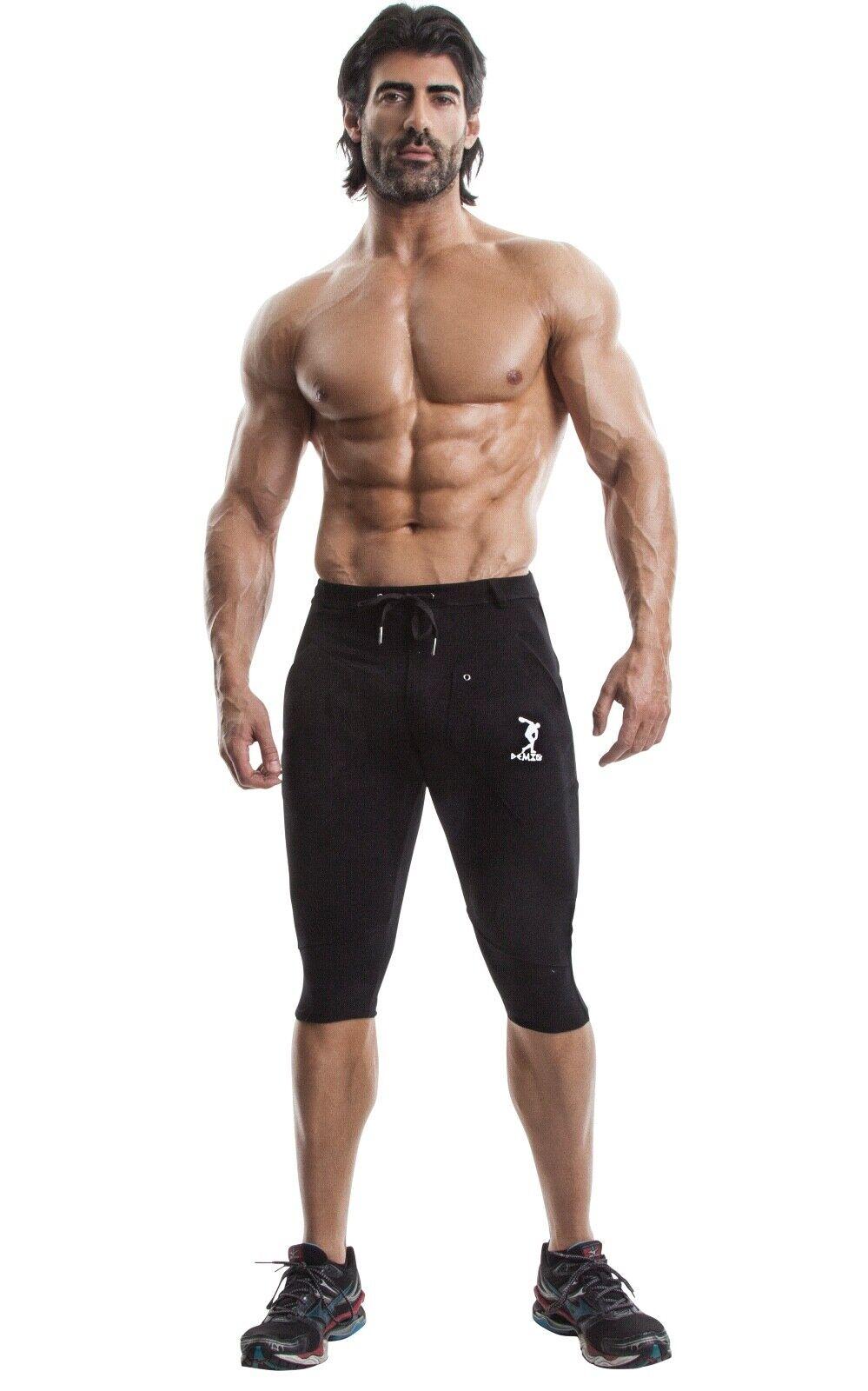 DEMIG Mens Yoga Pants Athletic 3 4 Elastic Waist Training Joggers Sport Casual C