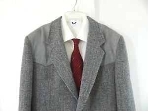 gray-PENDLETON-jacket-blazer-sport-coat-western-wool-tweed-suede-long-42-42L