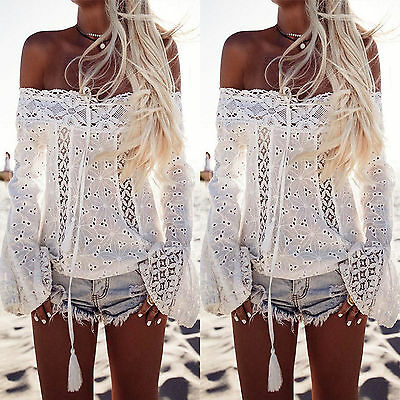 Off the Shoulder Blouse Women Boho Lace Crochet Loose T-shirt Top Summer Beach