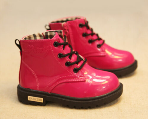 Fashion Winter Kids Patent Leather Zipper Martin boots Shoes 4-colors to Pick