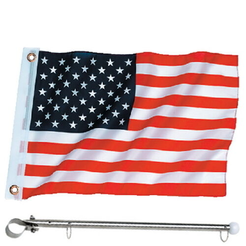 12 x 18 United States Flag and Pole American Rail Mount Flag Kit for Boats