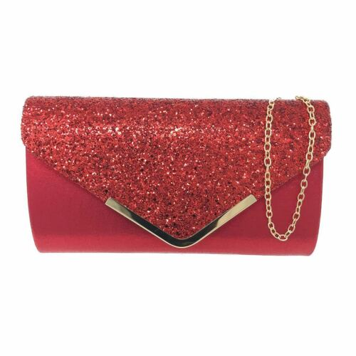 Mujeres Brillo Reflejo Clutch Bag Damas Boda Fiesta Baile de graduación Glamour Bolso De Boda