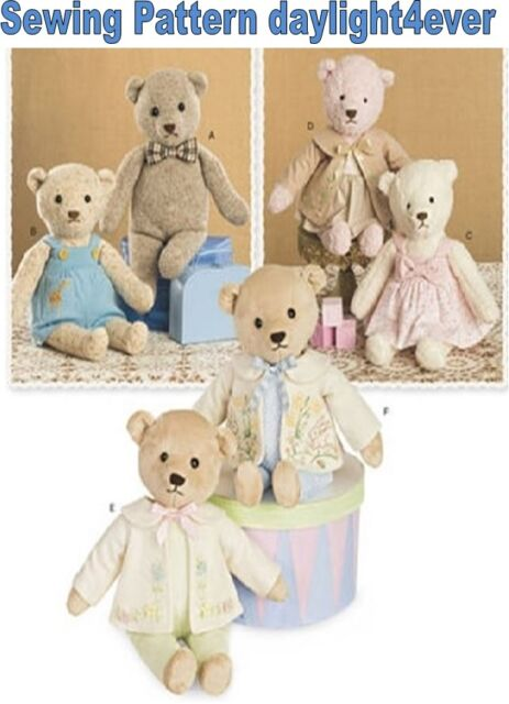 Simplicity Pattern 8155 Stuffed Bears With Clothes One Size | eBay