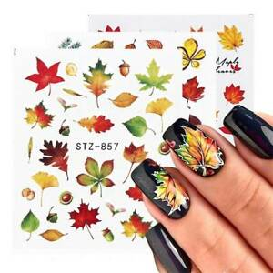 4X-Autumn-Maple-Leaves-Water-Transfers-Nail-Art-Stickers-Decals-UV-Gel-Decor-UK