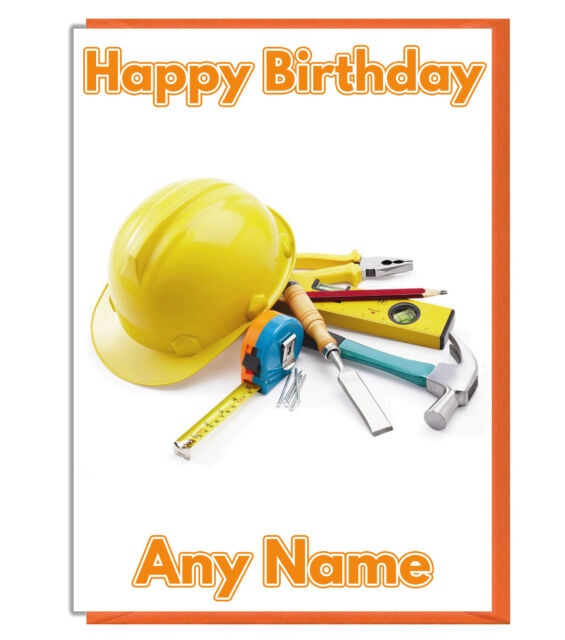 Personalised Builders Helmet And Tool Birthday Card
