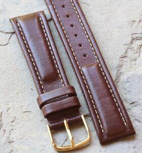 Medium-brown-Hirsch-18mm-vintage-watch-strap-padded-leather-contrast-stitching
