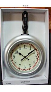 15 Quot Silver Red Check Black Frying Pan Kitchen Wall Clock