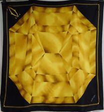 """Cartier Sciarpa 100% SETA """"must de 'diamante giallo su nero, bianco bordo 34"""" x 32"""""""