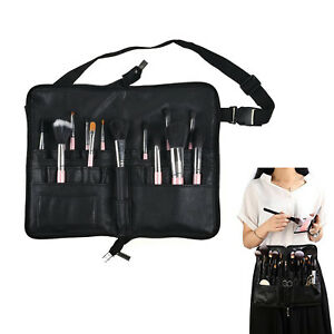 943911615a45 Details about 22 Pockets Leather Cosmetic Makeup Brush Bag Zipper Organizer  with Belt Black
