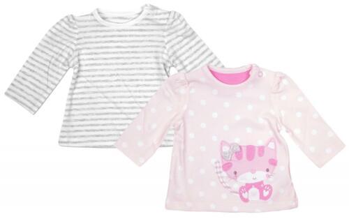Girls Baby 2 Pack Kitten Cat Polka Stripe Long Sleeve Tops Newborn 12 Months