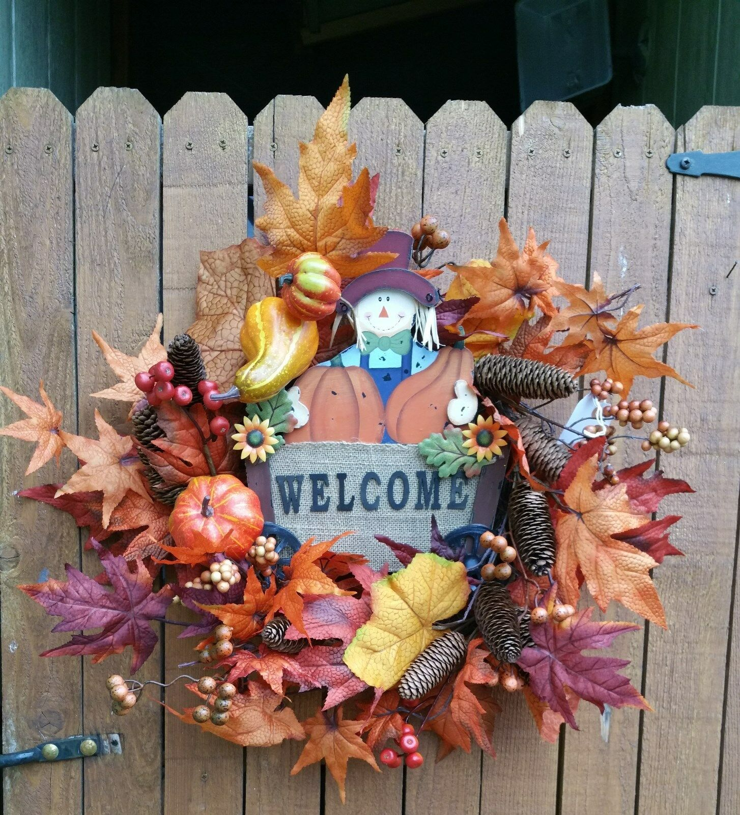 22  Fall Wreath Welcome Sign Berries Leaves Pine Cones Leaves Scarecrow