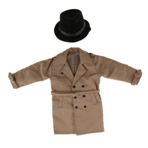 1//6 Scale Male Windcoat Long Trench Coat With Black Hat for 12inch Action Figure