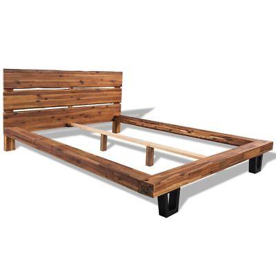 vidaXL Massivholz Bettgestell Akazie Bettrahmen Bett Doppelbett 140/180x200 cm