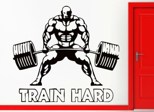 z2354 Wall Stickers Be Strong Train Hard Bodybuilding Bodybuilder Muscle