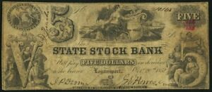 1852-5-Five-Dollars-State-Stock-Bank-Obsolete-Note-Logansport-IN-SN-10145