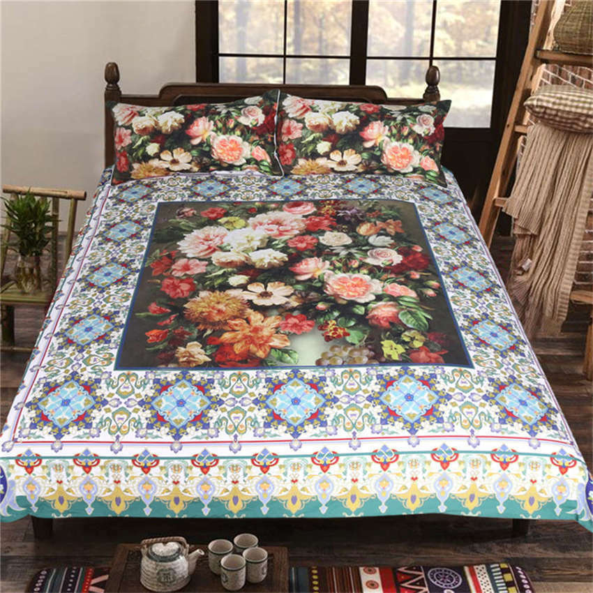 Cluster Pale Nice Flowers 3D Digital Print Bedding Duvet Quilt Cover Pillowcase