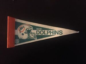 """Miami Dolphins 4"""" x 9"""" Mini Pennant Banner Flag NFL ** Free Shipping **"""