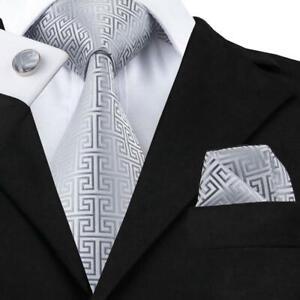 Silver-Tie-Set-Silk-Mens-Jacquard-Woven-Business-Meeting-Necktie-Cufflinks-C-484