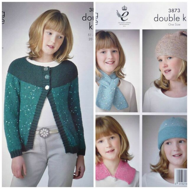KNITTING PATTERN Girls Long Sleeve Round Neck Cardigan Hat Scarf Galaxy DK 3873